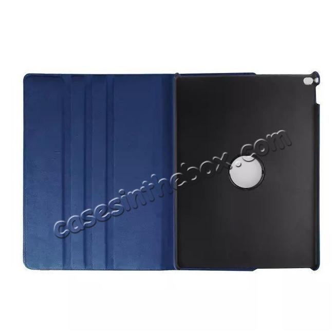 discount Litchi Grain 360 Rotate Flip Stand PU Leather Tablet Cover Case For iPad Pro 12.9 Inch - Dark Blue