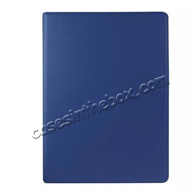 cheap Litchi Grain 360 Rotate Flip Stand PU Leather Tablet Cover Case For iPad Pro 12.9 Inch - Dark Blue