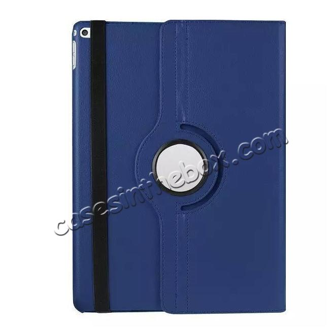 top quality Litchi Grain 360 Rotate Flip Stand PU Leather Tablet Cover Case For iPad Pro 12.9 Inch - Dark Blue
