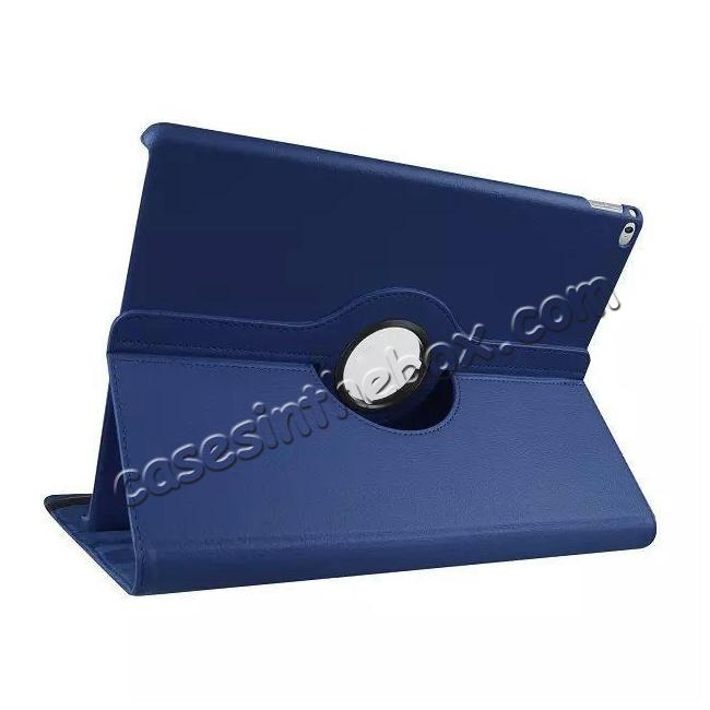 wholesale Litchi Grain 360 Rotate Flip Stand PU Leather Tablet Cover Case For iPad Pro 12.9 Inch - Dark Blue