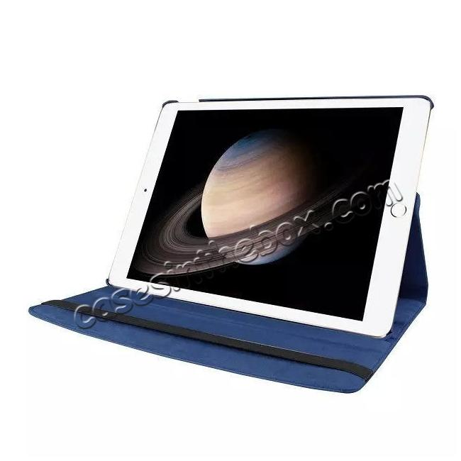 best price Litchi Grain 360 Rotate Flip Stand PU Leather Tablet Cover Case For iPad Pro 12.9 Inch - Dark Blue