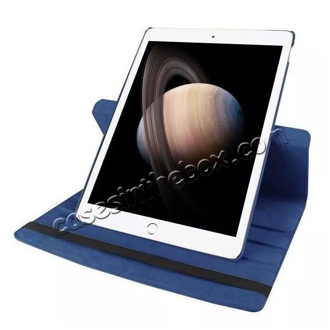 on sale Litchi Grain 360 Rotate Flip Stand PU Leather Tablet Cover Case For iPad Pro 12.9 Inch - Dark Blue