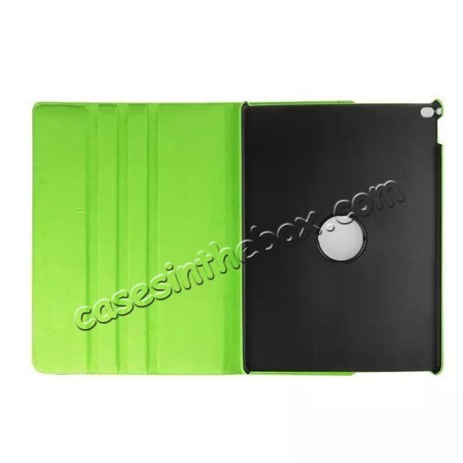 discount Litchi Grain 360 Rotate Flip Stand PU Leather Tablet Cover Case For iPad Pro 12.9 Inch - Green