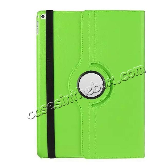 top quality Litchi Grain 360 Rotate Flip Stand PU Leather Tablet Cover Case For iPad Pro 12.9 Inch - Green