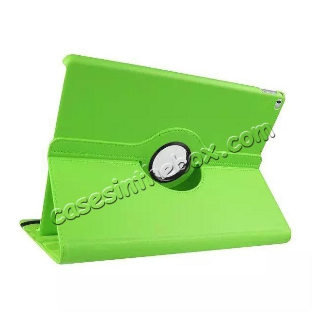 wholesale Litchi Grain 360 Rotate Flip Stand PU Leather Tablet Cover Case For iPad Pro 12.9 Inch - Green