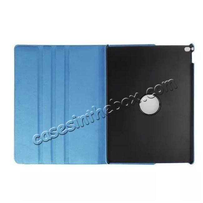 discount Litchi Grain 360 Rotate Flip Stand PU Leather Tablet Cover Case For iPad Pro 12.9 Inch - Light Blue