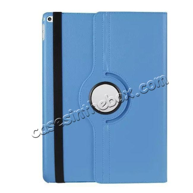 top quality Litchi Grain 360 Rotate Flip Stand PU Leather Tablet Cover Case For iPad Pro 12.9 Inch - Light Blue