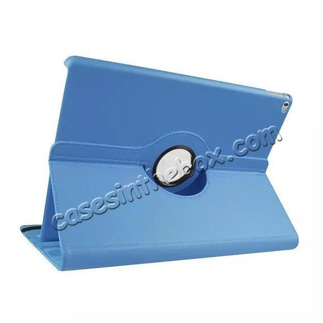 wholesale Litchi Grain 360 Rotate Flip Stand PU Leather Tablet Cover Case For iPad Pro 12.9 Inch - Light Blue
