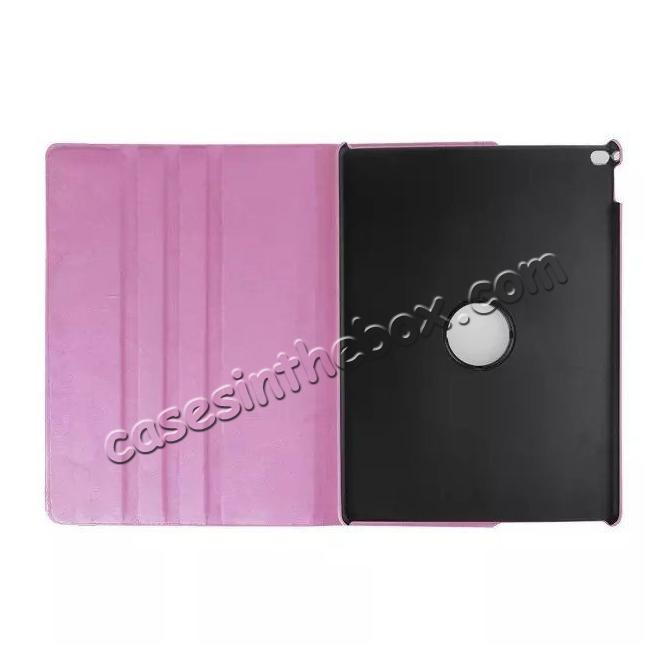 discount Litchi Grain 360 Rotate Flip Stand PU Leather Tablet Cover Case For iPad Pro 12.9 Inch - Pink