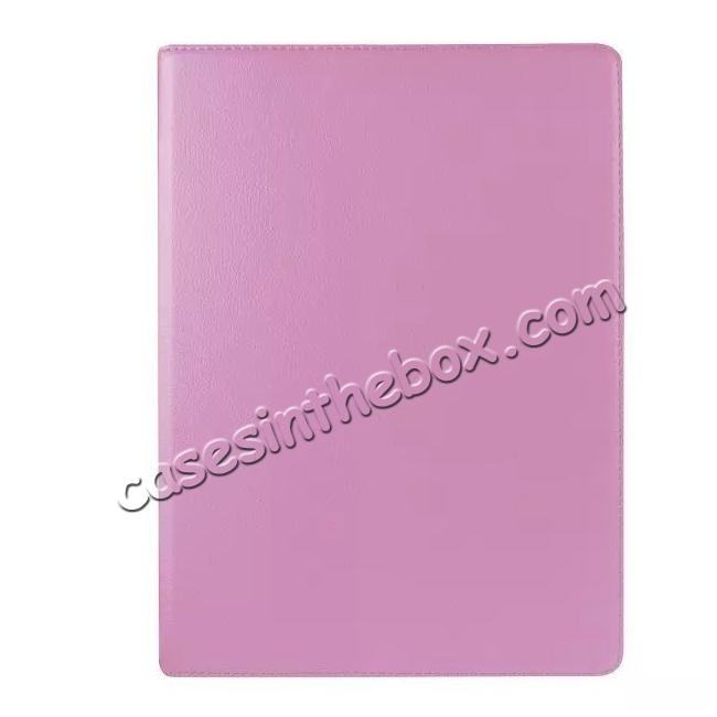 cheap Litchi Grain 360 Rotate Flip Stand PU Leather Tablet Cover Case For iPad Pro 12.9 Inch - Pink