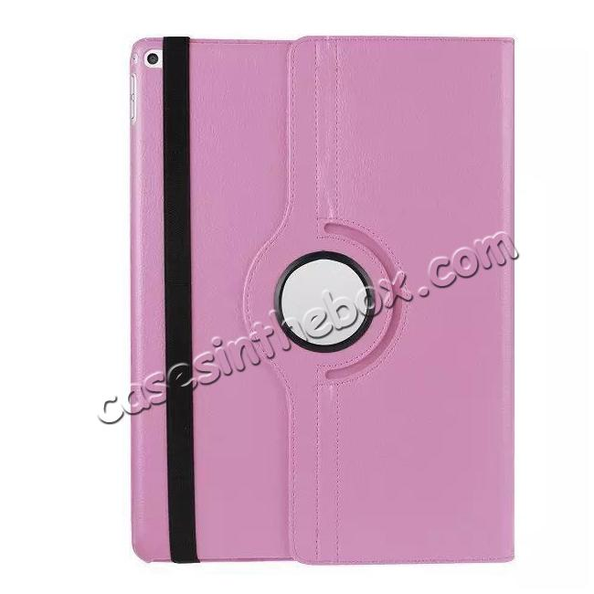 top quality Litchi Grain 360 Rotate Flip Stand PU Leather Tablet Cover Case For iPad Pro 12.9 Inch - Pink