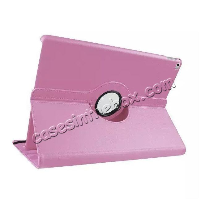 wholesale Litchi Grain 360 Rotate Flip Stand PU Leather Tablet Cover Case For iPad Pro 12.9 Inch - Pink