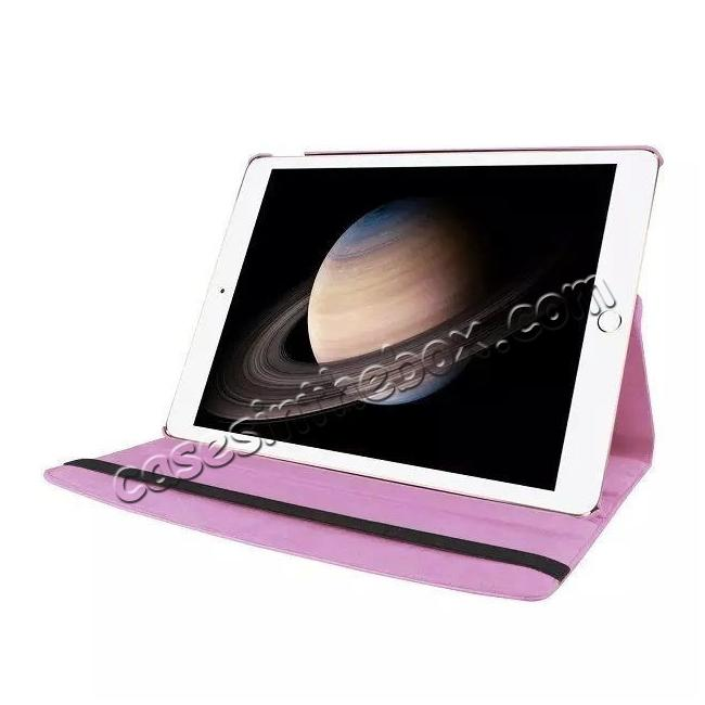 best price Litchi Grain 360 Rotate Flip Stand PU Leather Tablet Cover Case For iPad Pro 12.9 Inch - Pink
