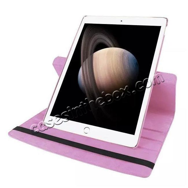 on sale Litchi Grain 360 Rotate Flip Stand PU Leather Tablet Cover Case For iPad Pro 12.9 Inch - Pink