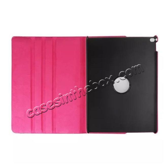 discount Litchi Grain 360 Rotate Flip Stand PU Leather Tablet Cover Case For iPad Pro 12.9 Inch - Rose red