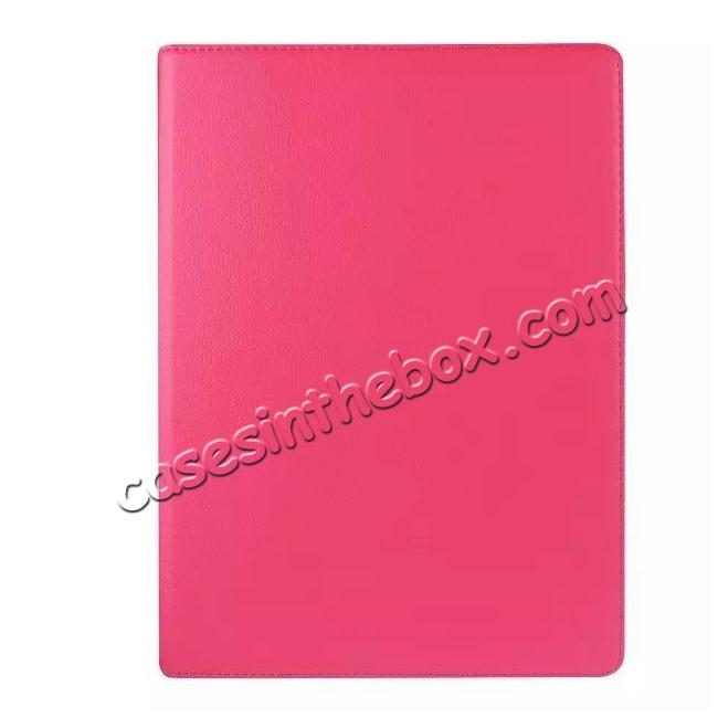 cheap Litchi Grain 360 Rotate Flip Stand PU Leather Tablet Cover Case For iPad Pro 12.9 Inch - Rose red
