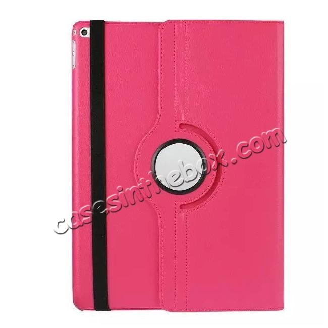 top quality Litchi Grain 360 Rotate Flip Stand PU Leather Tablet Cover Case For iPad Pro 12.9 Inch - Rose red