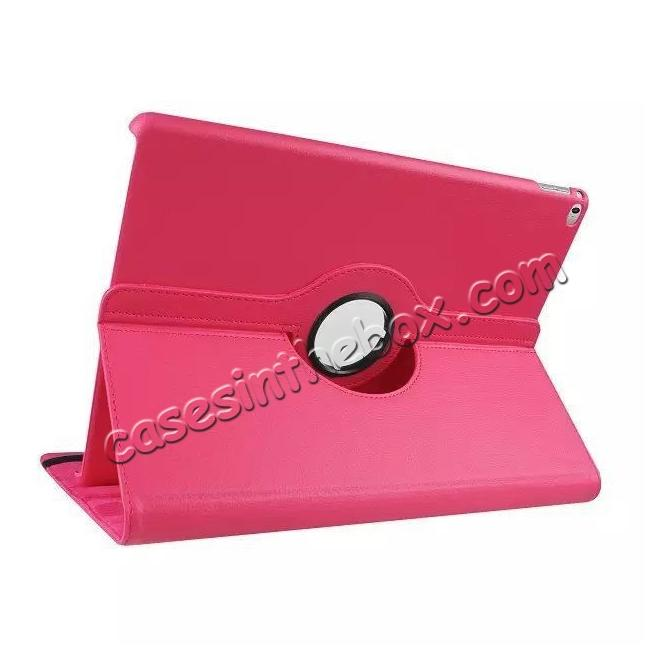 wholesale Litchi Grain 360 Rotate Flip Stand PU Leather Tablet Cover Case For iPad Pro 12.9 Inch - Rose red