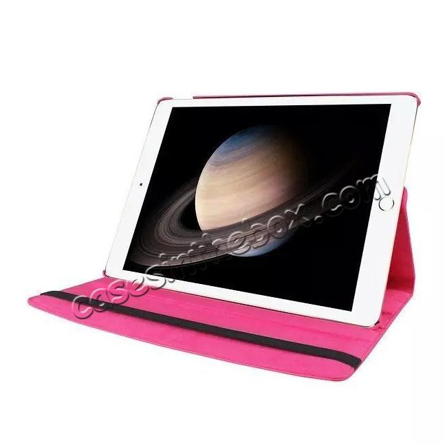 best price Litchi Grain 360 Rotate Flip Stand PU Leather Tablet Cover Case For iPad Pro 12.9 Inch - Rose red