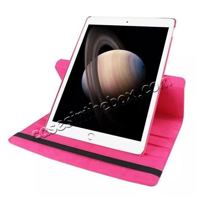 on sale Litchi Grain 360 Rotate Flip Stand PU Leather Tablet Cover Case For iPad Pro 12.9 Inch - Rose red
