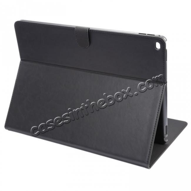wholesale Luxury Crazy Horse Leather Stand Cover Case Card Holder for iPad Pro 12.9inch - Black