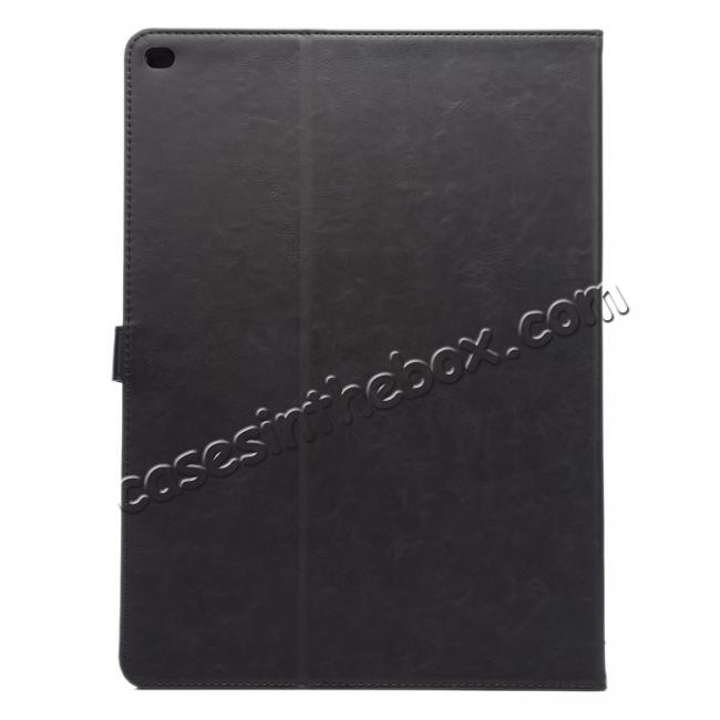 cheap Luxury Crazy Horse Leather Stand Cover Case Card Holder for iPad Pro 12.9inch - Black