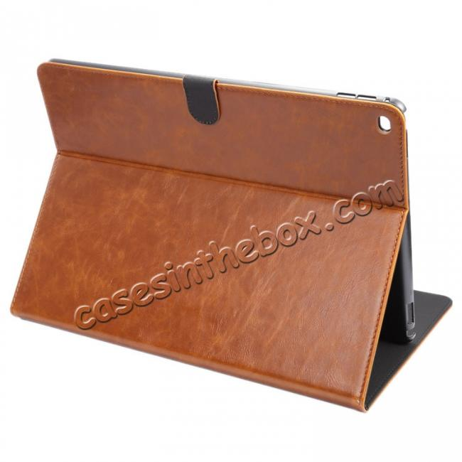 wholesale Luxury Crazy Horse Leather Stand Cover Case Card Holder for iPad Pro 12.9inch - Brown