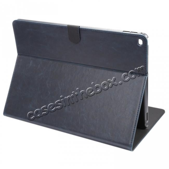 wholesale Luxury Crazy Horse Leather Stand Cover Case Card Holder for iPad Pro 12.9inch - Dark Blue