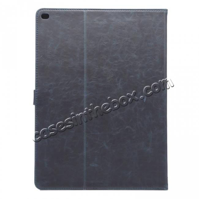 cheap Luxury Crazy Horse Leather Stand Cover Case Card Holder for iPad Pro 12.9inch - Dark Blue