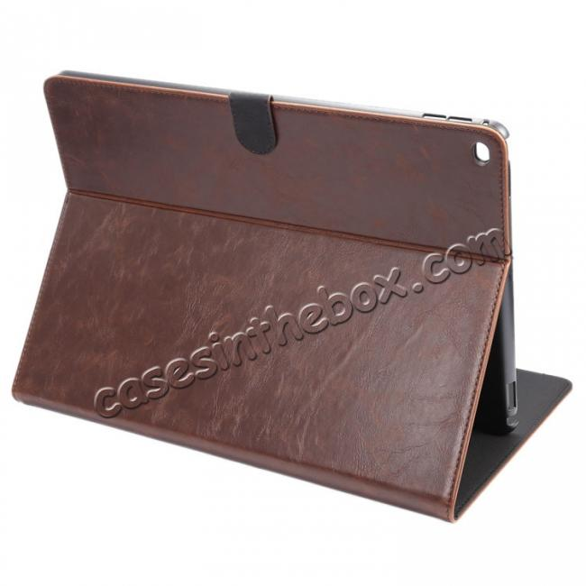 wholesale Luxury Crazy Horse Leather Stand Cover Case Card Holder for iPad Pro 12.9inch - Dark Brown