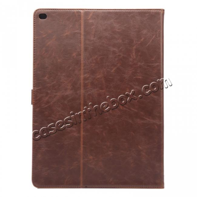 cheap Luxury Crazy Horse Leather Stand Cover Case Card Holder for iPad Pro 12.9inch - Dark Brown