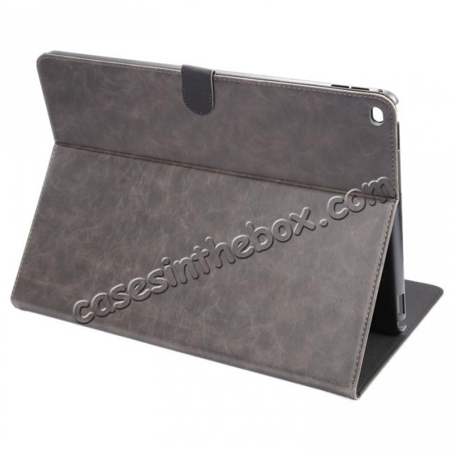 wholesale Luxury Crazy Horse Leather Stand Cover Case Card Holder for iPad Pro 12.9inch - Grey