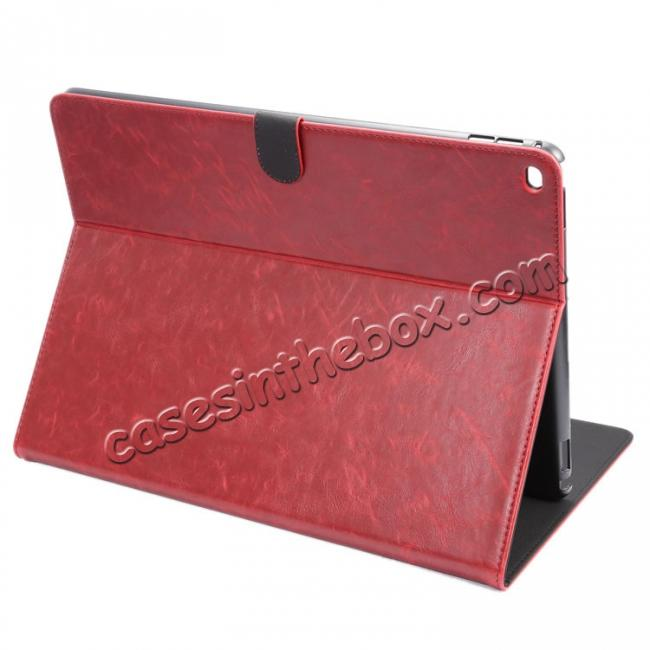 wholesale Luxury Crazy Horse Leather Stand Cover Case Card Holder for iPad Pro 12.9inch - Wine Red