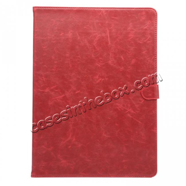 discount Luxury Crazy Horse Leather Stand Cover Case Card Holder for iPad Pro 12.9inch - Wine Red