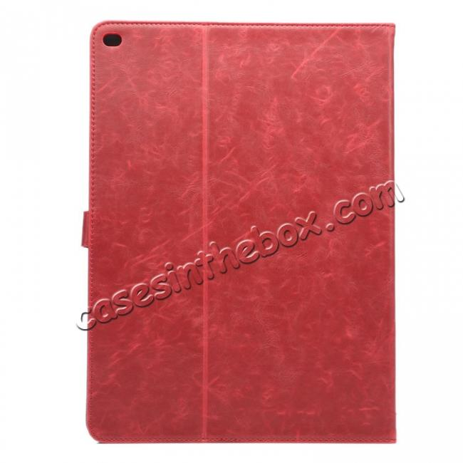 cheap Luxury Crazy Horse Leather Stand Cover Case Card Holder for iPad Pro 12.9inch - Wine Red