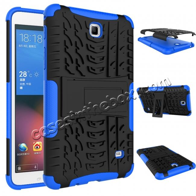 discount Rugged Hybrid Dual Layer Case with Kickstand for Samsung Galaxy Tab 4 7.0 T230 - Blue