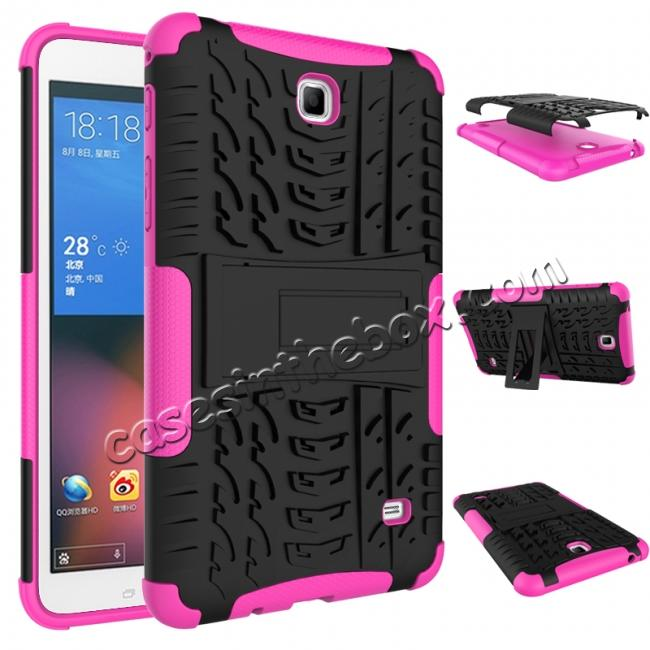discount Rugged Hybrid Dual Layer Case with Kickstand for Samsung Galaxy Tab 4 7.0 T230 - Hot pink