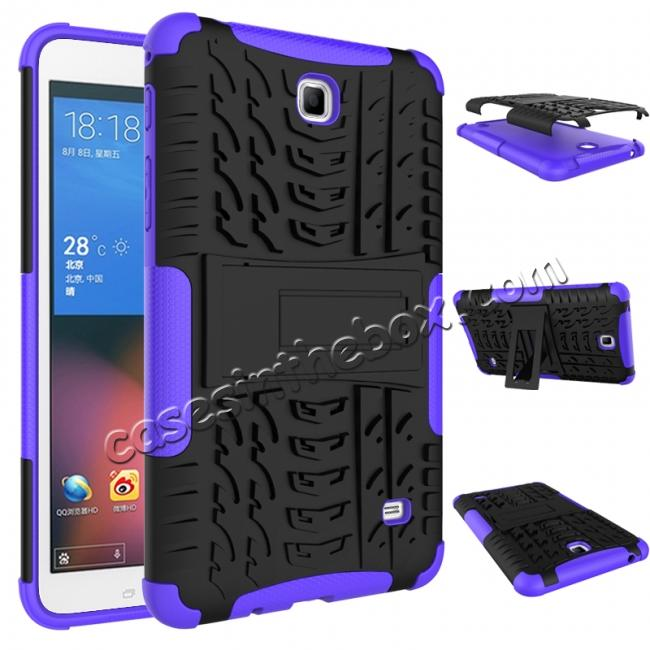 discount Rugged Hybrid Dual Layer Case with Kickstand for Samsung Galaxy Tab 4 7.0 T230 - Purple