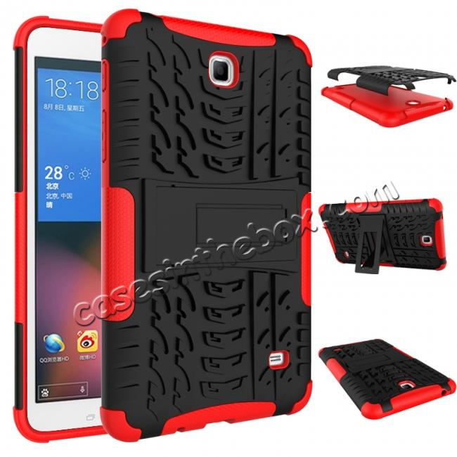 discount Rugged Hybrid Dual Layer Case with Kickstand for Samsung Galaxy Tab 4 7.0 T230 - Red