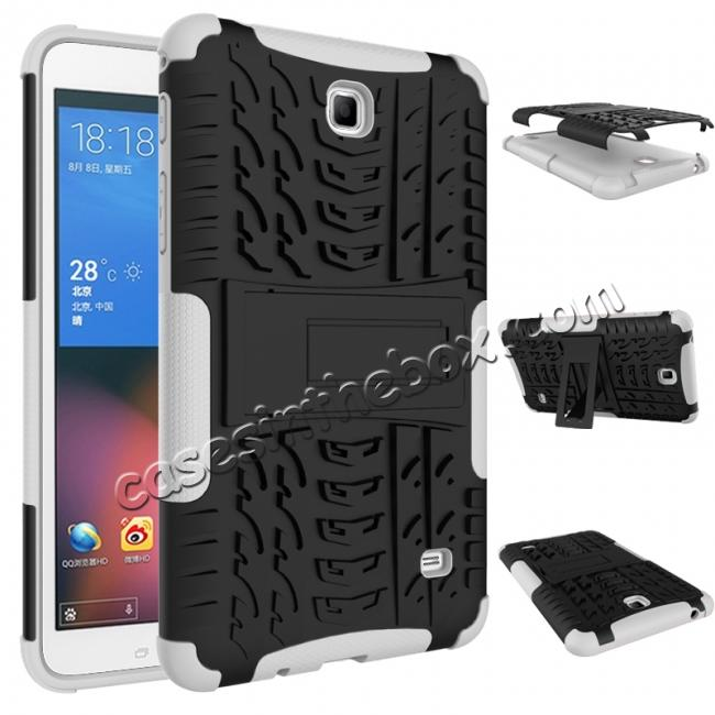 discount Rugged Hybrid Dual Layer Case with Kickstand for Samsung Galaxy Tab 4 7.0 T230 - White