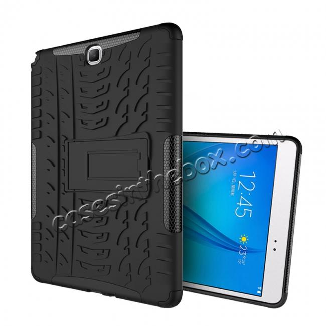 cheap Shockproof Dual Layer Hybrid Kickstand Case For Samsung Galaxy Tab A 9.7 T550 - Black