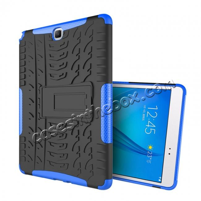 discount Shockproof Dual Layer Hybrid Kickstand Case For Samsung Galaxy Tab A 9.7 T550 - Blue