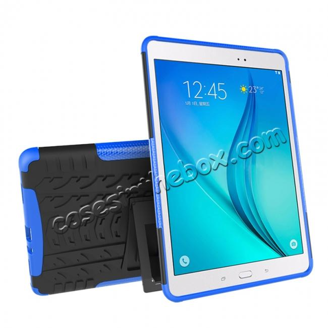 cheap Shockproof Dual Layer Hybrid Kickstand Case For Samsung Galaxy Tab A 9.7 T550 - Blue