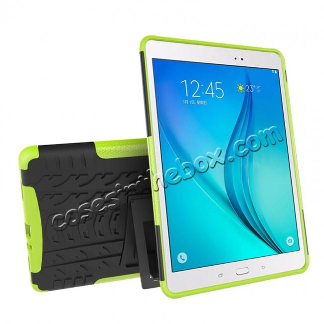 discount Shockproof Dual Layer Hybrid Kickstand Case For Samsung Galaxy Tab A 9.7 T550 - Green