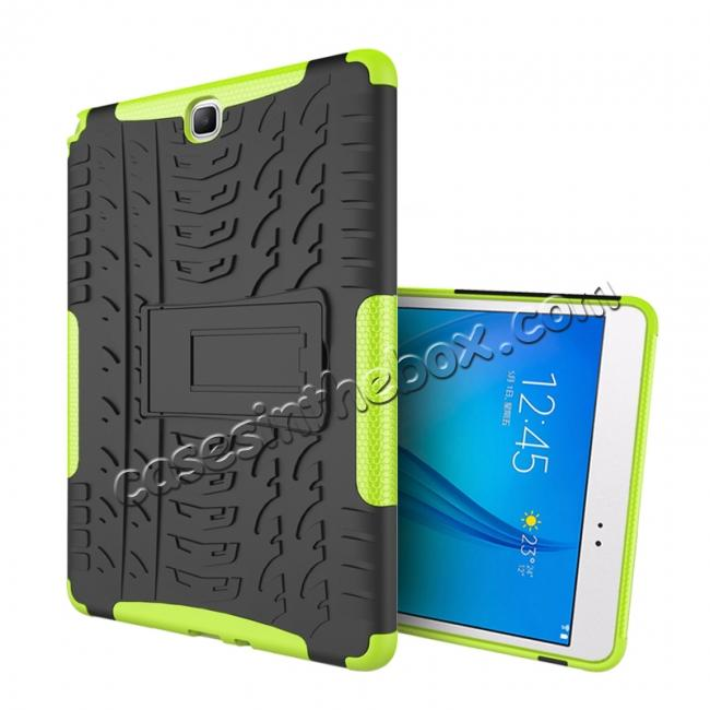 cheap Shockproof Dual Layer Hybrid Kickstand Case For Samsung Galaxy Tab A 9.7 T550 - Green