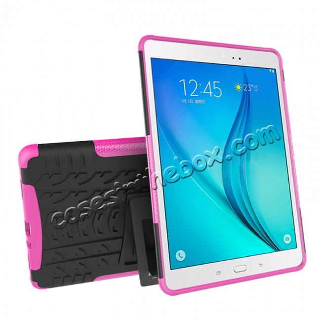 discount Shockproof Dual Layer Hybrid Kickstand Case For Samsung Galaxy Tab A 9.7 T550 - Hot pink