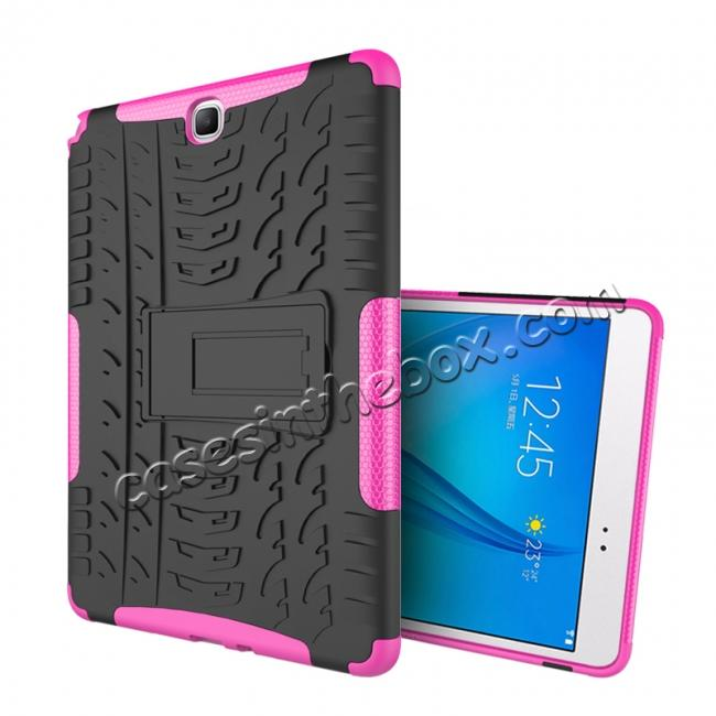 cheap Shockproof Dual Layer Hybrid Kickstand Case For Samsung Galaxy Tab A 9.7 T550 - Hot pink