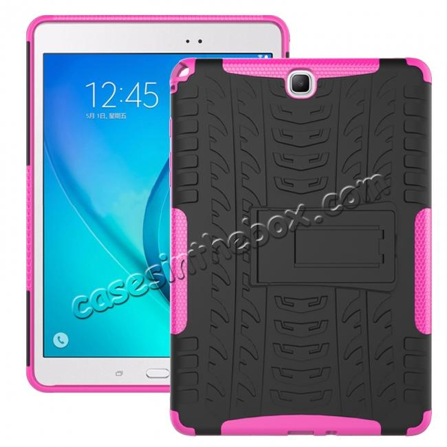 wholesale Shockproof Dual Layer Hybrid Kickstand Case For Samsung Galaxy Tab A 9.7 T550 - Hot pink