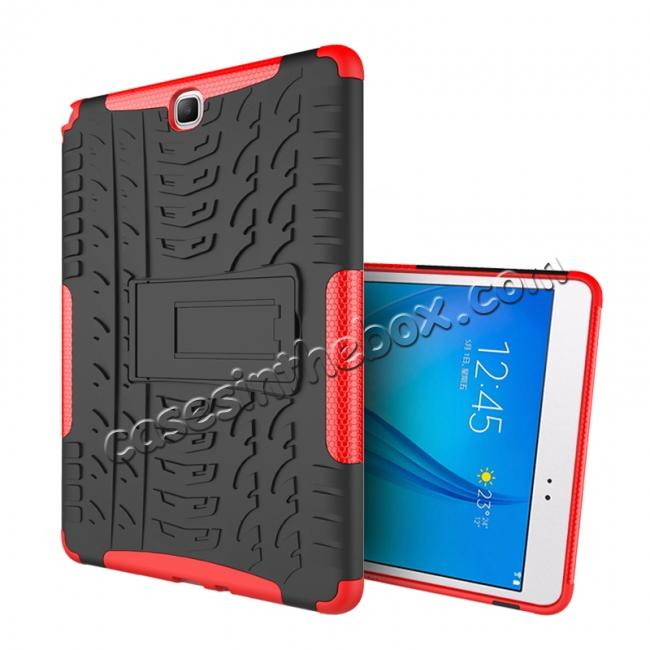 discount Shockproof Dual Layer Hybrid Kickstand Case For Samsung Galaxy Tab A 9.7 T550 - Red