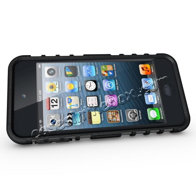 discount Armor Kickstand Hard & Soft Rubber Hybrid Case Cover For Apple iPod Touch 6th Gen - Black